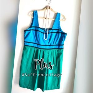 Plus Eloquii Color Block Summer Dress w/Pockets